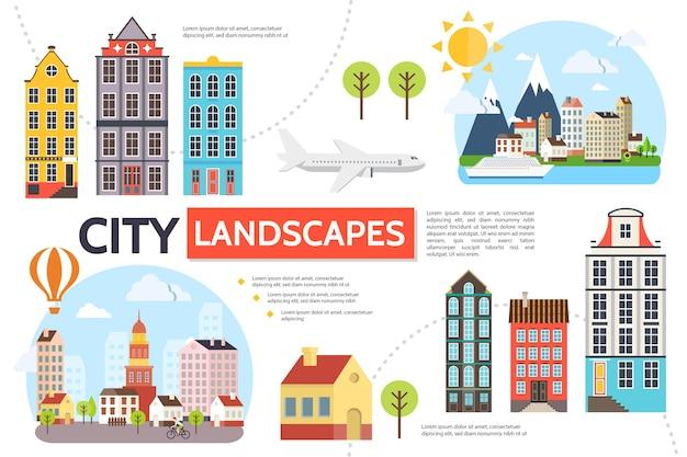 Flache stadtbild-infografikschablone mit modernen gebäuden bäume sonne berge himmel flugzeug heißluftballon schiff illustration