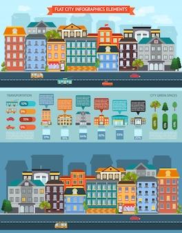Flache stadtelemente infografiken mit stadtlandschaftsfahnen und gebäuden und transportset mit statistikvektorillustration