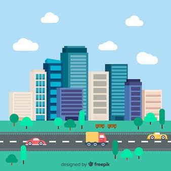 Flache Stadtlandschaft mit Bürogebäuden