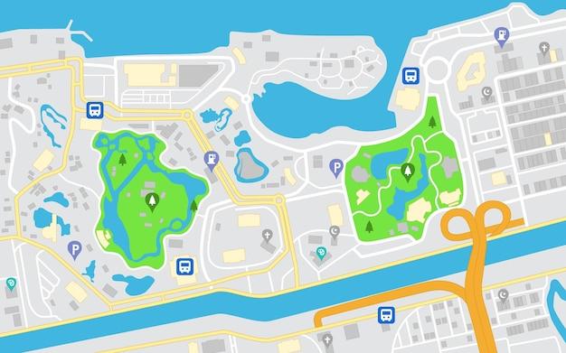 Flache stadtnavigationskarte straßen parks und fluss mit draufsicht vektor-illustration