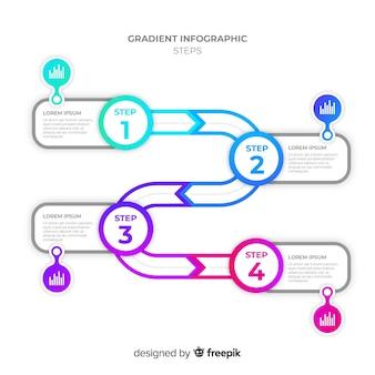 Flache steigung infographik schritte vorlage
