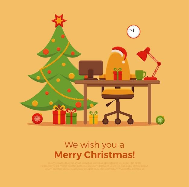 Flache stilillustration des weihnachtsarbeitsplatzinnenraums