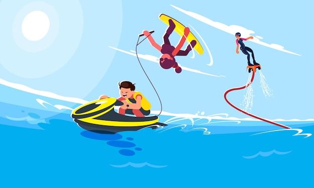 Flache stilillustrationen von charakteren in beliebten sommerstrandaktivitäten und wasseraktivitäten. guy fährt einen wasserscooter und mädchen folgt ihm und macht einen trick auf einem wakeboard. flyboardist fliegt hoch