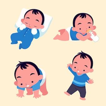 Flache stufen eines babys