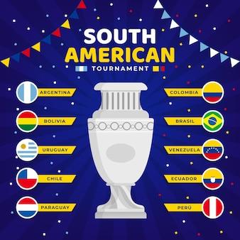 Flache südamerikanische fußballturnierillustration