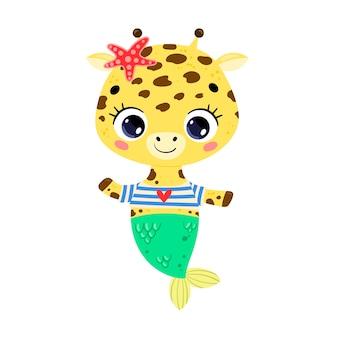 Flache süße cartoon-giraffe meerjungfrau. tropische tiere im sommer