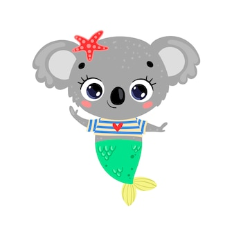 Flache süße cartoon-koala-meerjungfrau. tropische tiere im sommer