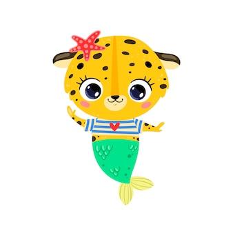Flache süße cartoon-leopard-meerjungfrau. tropische tiere im sommer