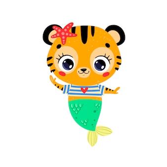 Flache süße cartoon-tiger-meerjungfrau. tropische tiere im sommer