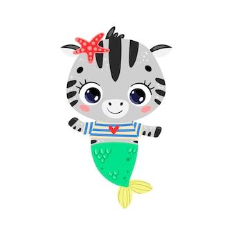 Flache süße cartoon-zebra-meerjungfrau. tropische tiere im sommer