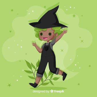Flache süße halloween hexe