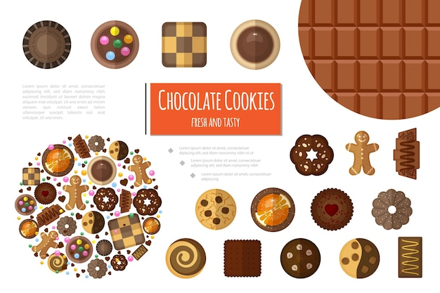 Flache süße produktzusammensetzung mit schokoriegel und verschiedenen arten von schokoladenplätzchen
