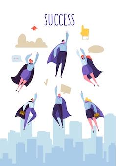 Flache superhelden-charaktere, die zum erfolg fliegen