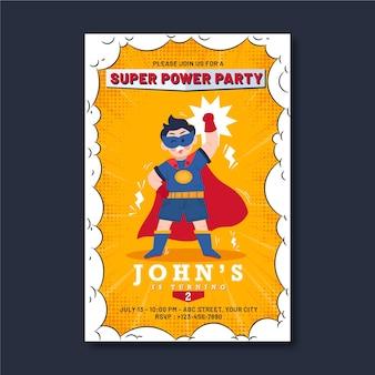 Flache superheldengeburtstagseinladung