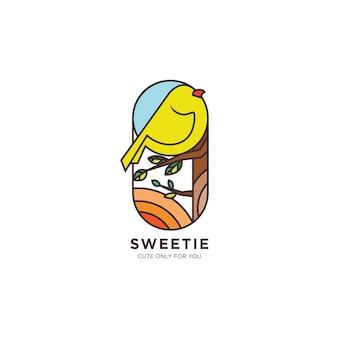 Flache sweetie bird logo-illustration