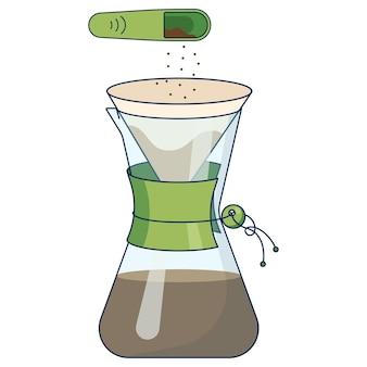 Flache symboldarstellung der kaffeebrühmethode