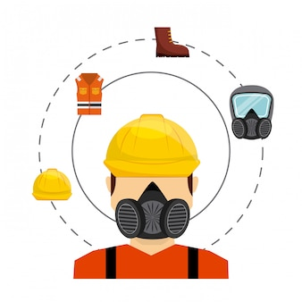 Flache symbole der sicherheitsindustrie-ausrüstung