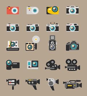 Flache symbole für foto- und videokameras. digitalfotografietechnologie, objektivausrüstung, polaroidvektorillustration