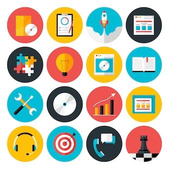 Flache symbole vektorsammlung von webdesign-objekten, geschäfts-, büro- und marketingartikeln. flache stilisierte symbole gesetzt