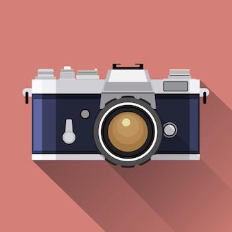 Flache symbolvektorillustration der retro-kamera