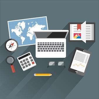 Flache tabelle office notebook kompass karte