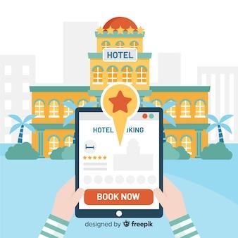 Flache tablet hotel buchung hintergrund