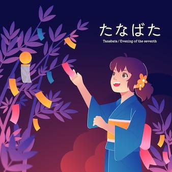 Flache tanabata-feierillustration