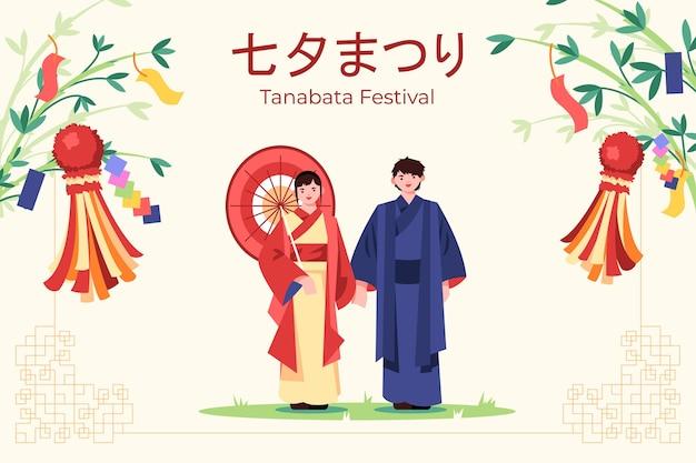 Flache tanabata-illustration