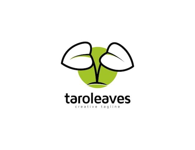 Flache taro-pflanze verlässt logoillustration