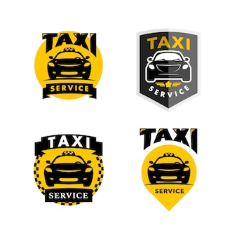 Flache taxi logo isolierte illustration