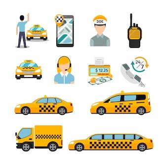 Flache taxisymbole. transport-service. fahrerhaus und fahrzeug, autoverkehrsgeschäft.