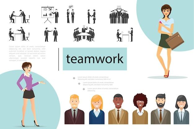 Flache teamarbeitskomposition mit geschäftsleuten unterschiedlicher ethnischer zugehörigkeit in verschiedenen situationen illustration