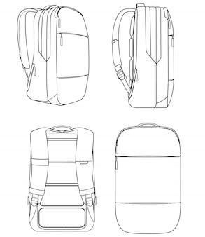 Flache technische zeichnung der incase city-mode