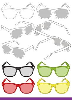 Flache technische zeichnung der sonnenbrillenart