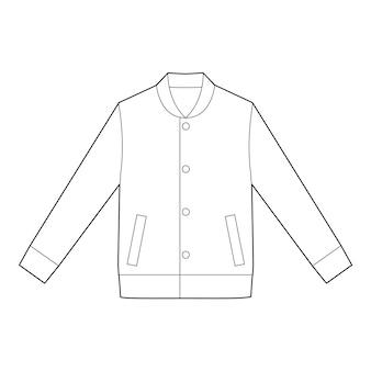 Flache technische zeichnungs-vektorschablone jaket outer fashion