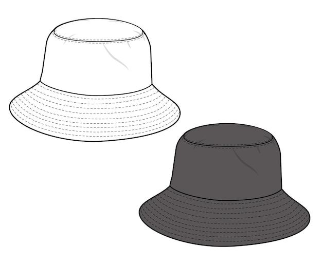 Flache technische zeichnungsvektorschablone der eimer-hut-mode