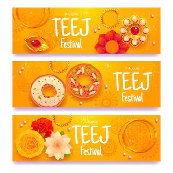 Flache teej-festival-banner-set