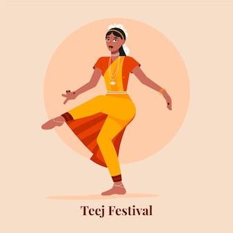 Flache teej-festivalillustration