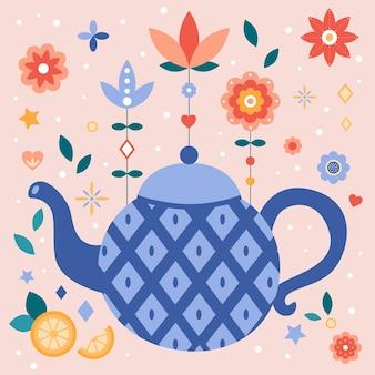 Flache teekanne mit blauer raute