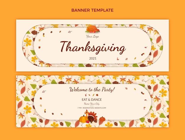 Flache thanksgiving-horizontale banner-set