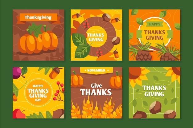 Flache thanksgiving-instagram-beiträge