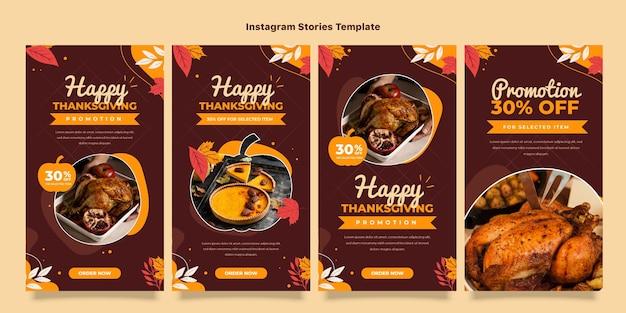 Flache thanksgiving-instagram-geschichten-sammlung