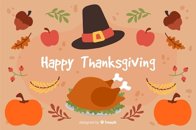 Flache thanksgiving-konzept hintergrund