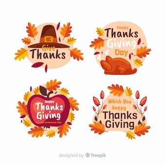 Flache thanksgiving-label / abzeichen sammlung