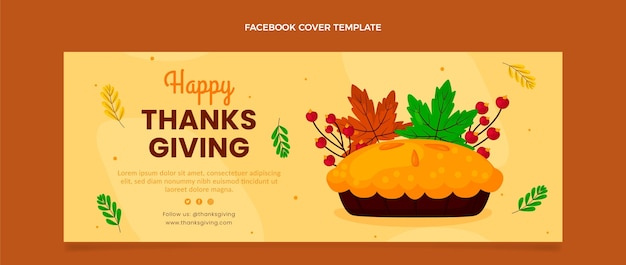 Flache thanksgiving-social-media-cover-vorlage