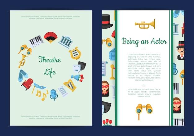 Flache theaterkarte oder flyer