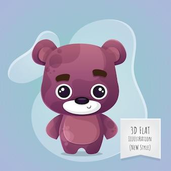 Flache tierbabybärenillustration der art 3d für kinder