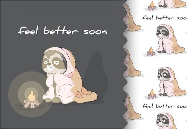 Flache tierfaultier der comic-karikatur wollen schlafen