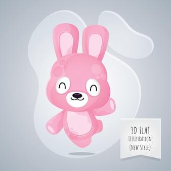 Flache tierhasenillustration der art 3d für kinder