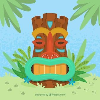 Flache tiki maske mit palmblättern